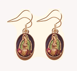 Rhodium Plated n1 oval hanging earring, navy blue, with, virgen gpe