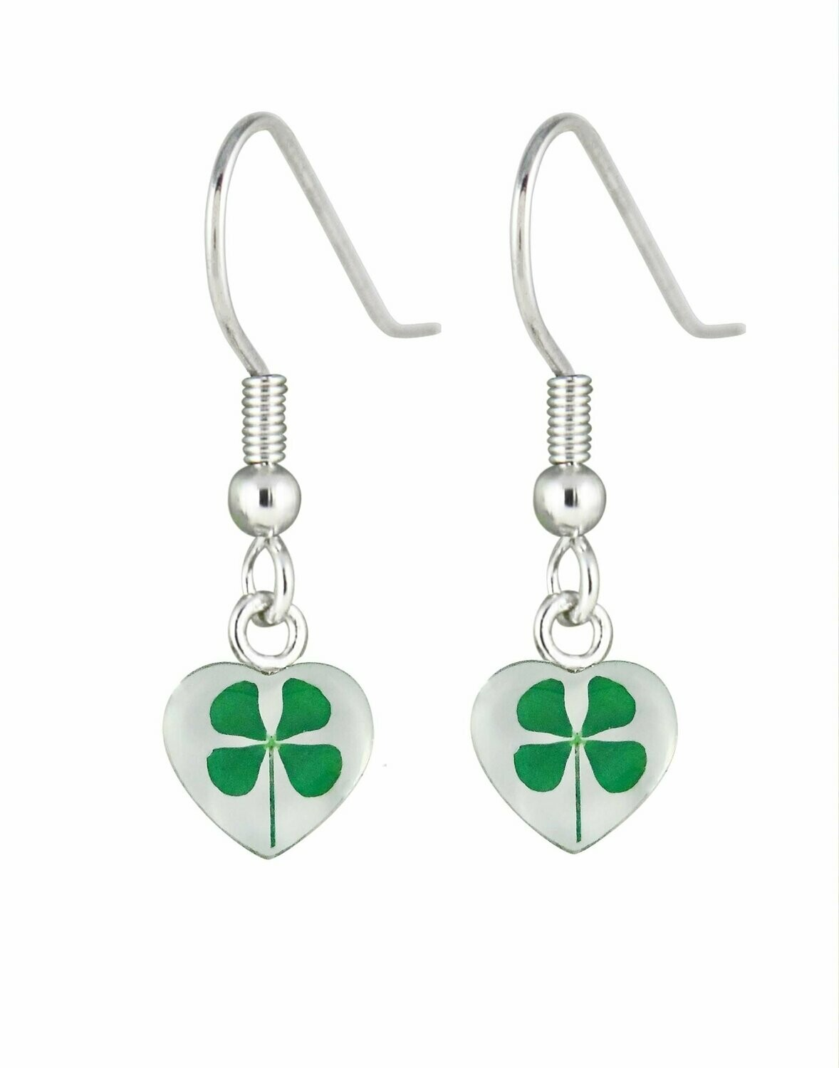 Four-Leaf Clover, Heart Hanging Earrings, White Background