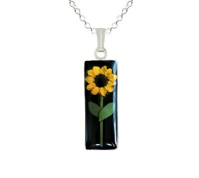 Sunflower Necklace, Medium Rectangle, Black Background