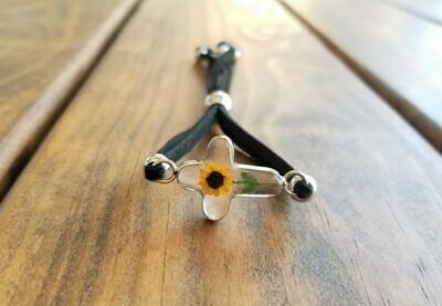 Sunflower Cross Leather Bracelet, Transparent