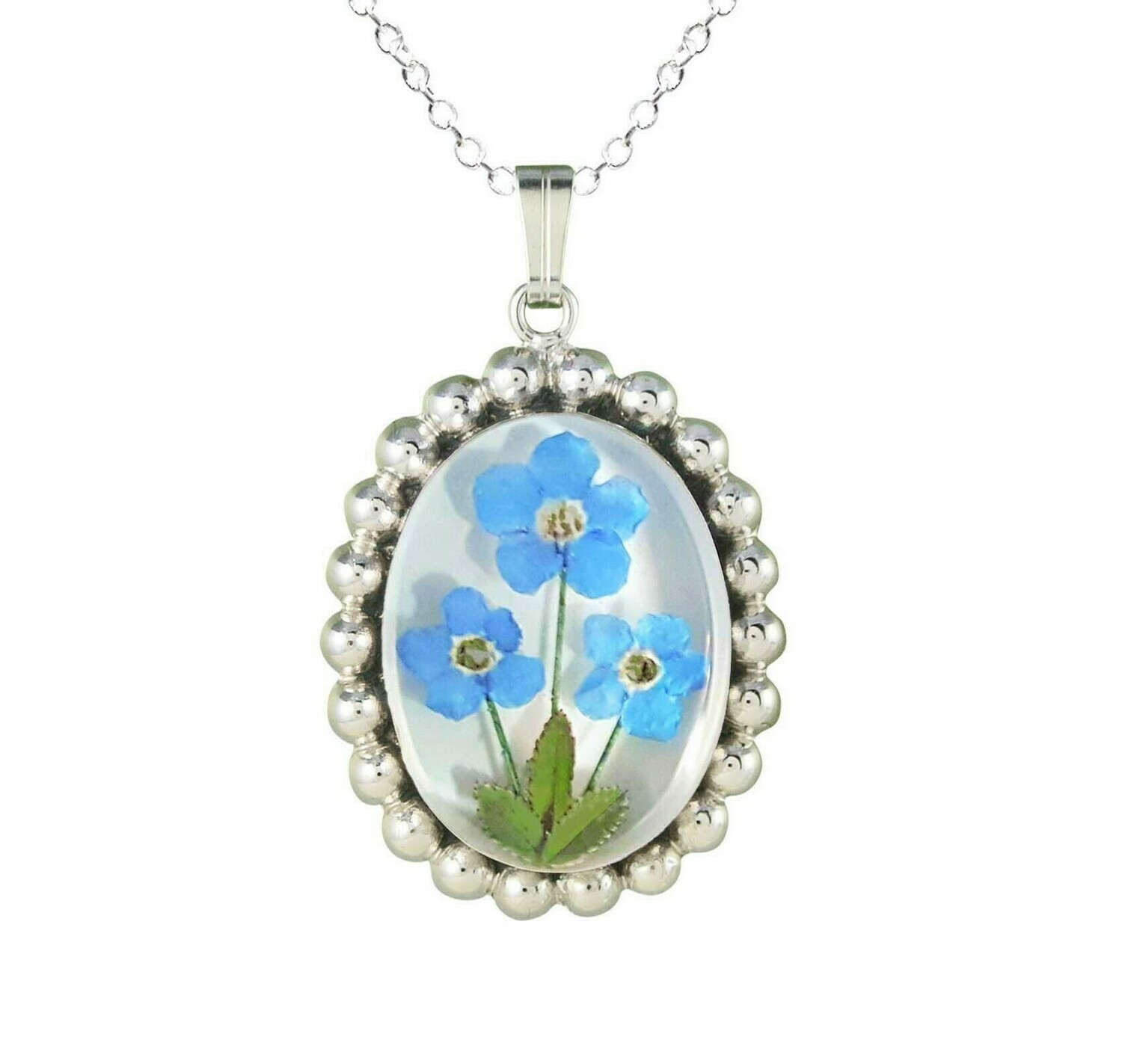 Forget-Me-Not Necklace, Pelleted Oval Medallion, White Background