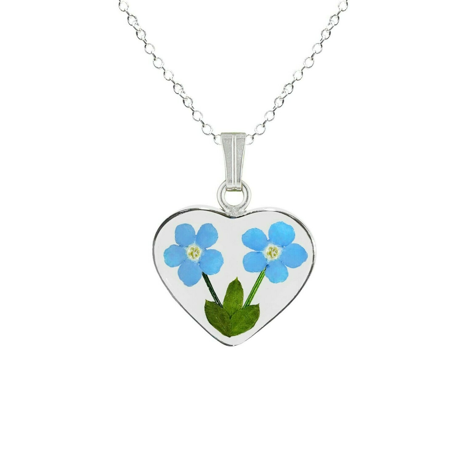Forget-Me-Not Necklace, Medium Heart, Transparent