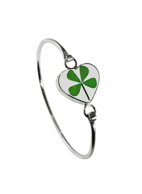 Four-Leaf Clover, Heart Bracelet, Transparent