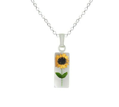 Sunflower Necklace, Small Rectangle, White Background