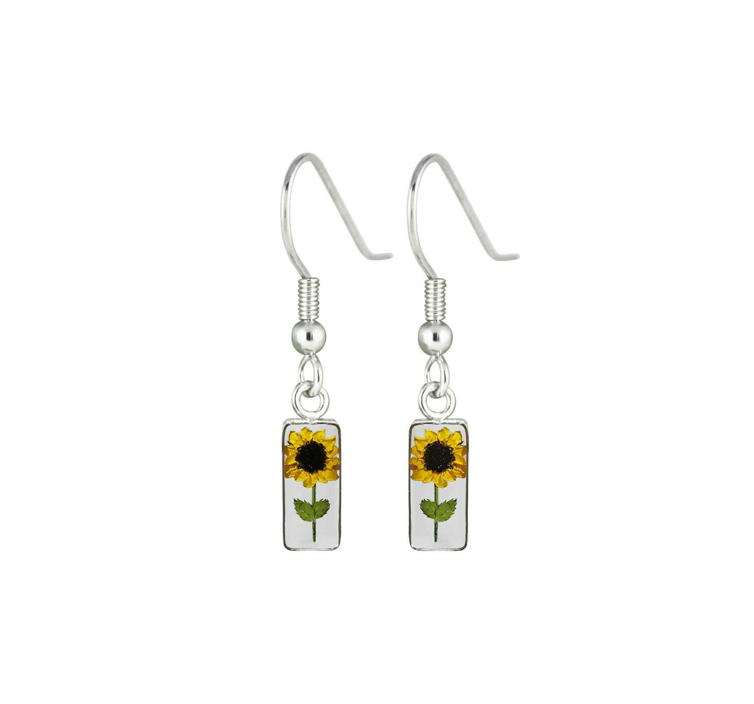 Sunflower Earrings, Rectangle, Transparent.