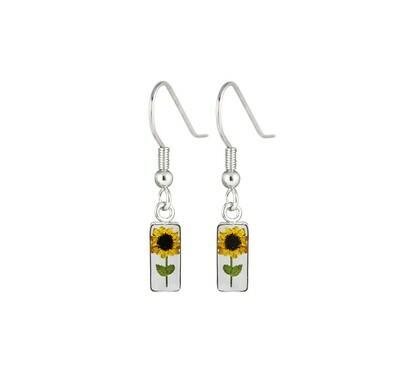Sunflower Earrings, Rectangle, Transparent.