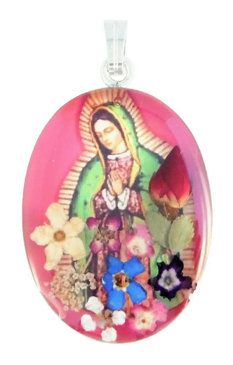 Large Guadalupe Virgen Medallion, Pink, Rhodium Plated