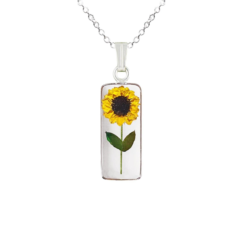 Sunflower Necklace, Medium Rectangle, Transparent
