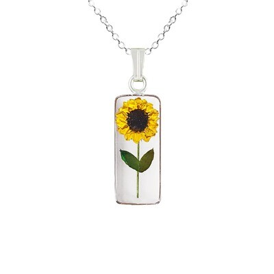 Sunflower Necklace, Medium Rectangle, Transparent