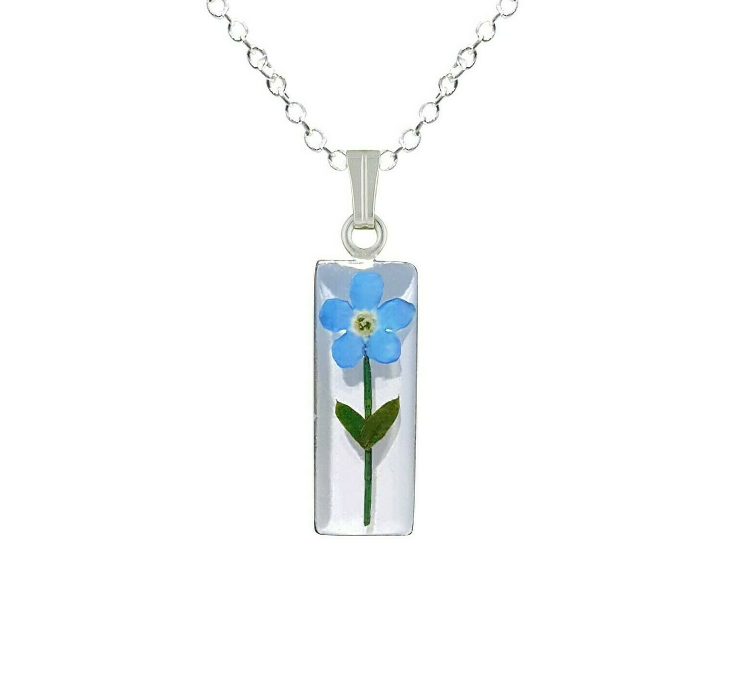 Forget-Me-Not Necklace, Medium Rectangle, White Background