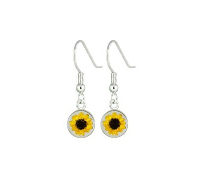 Sunflower, Small Circle Hanging Earrings, Transparent.