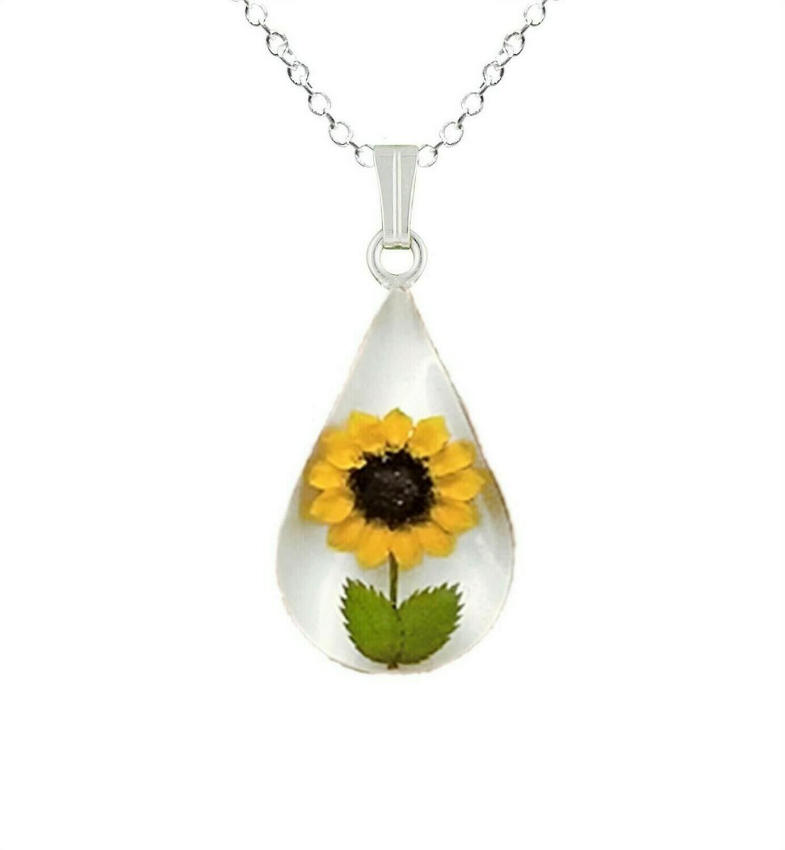 Sunflower Necklace, Teardrop, White Background