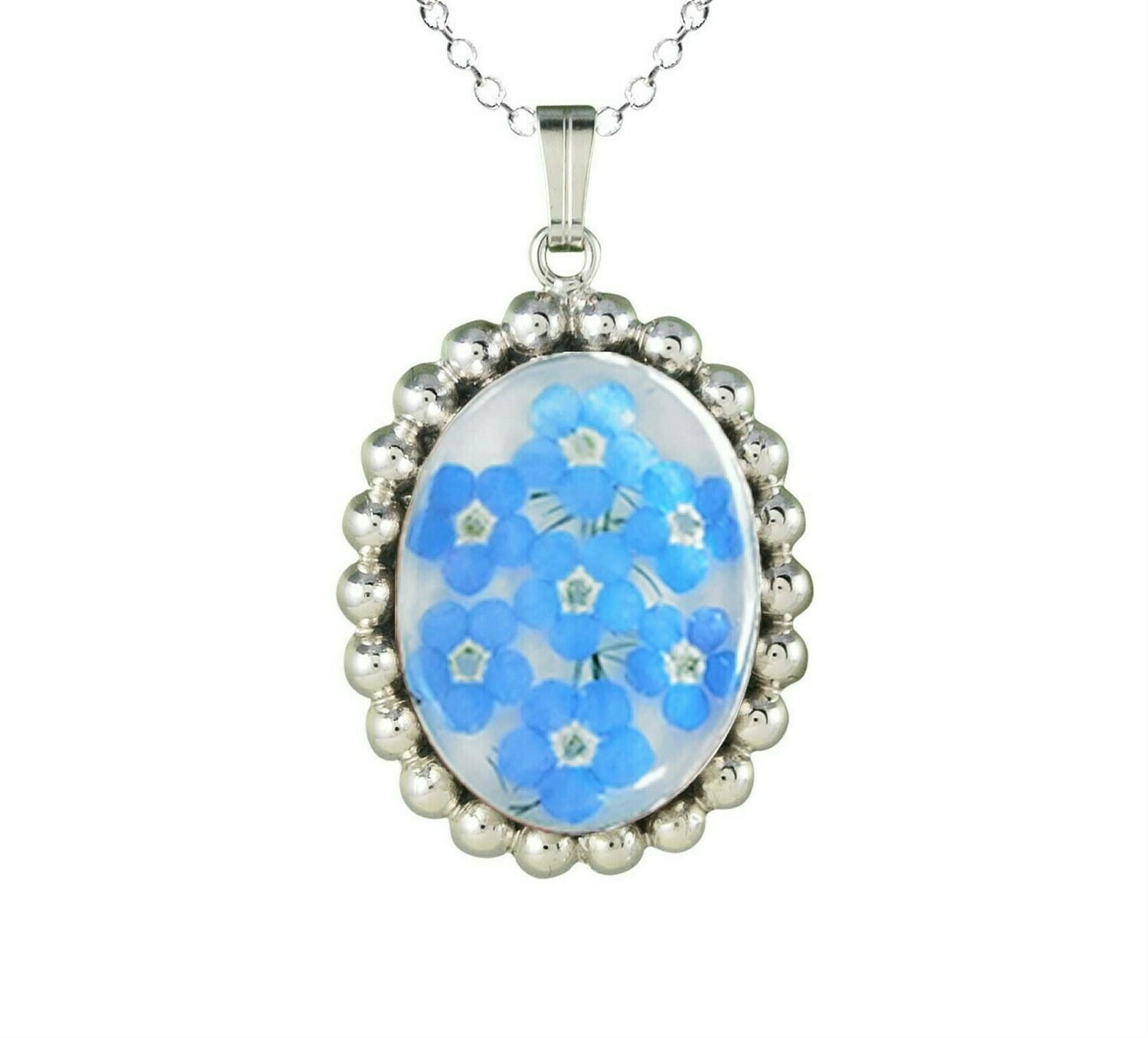 Forget-Me-Not Necklace, Oval Medallion, White Background