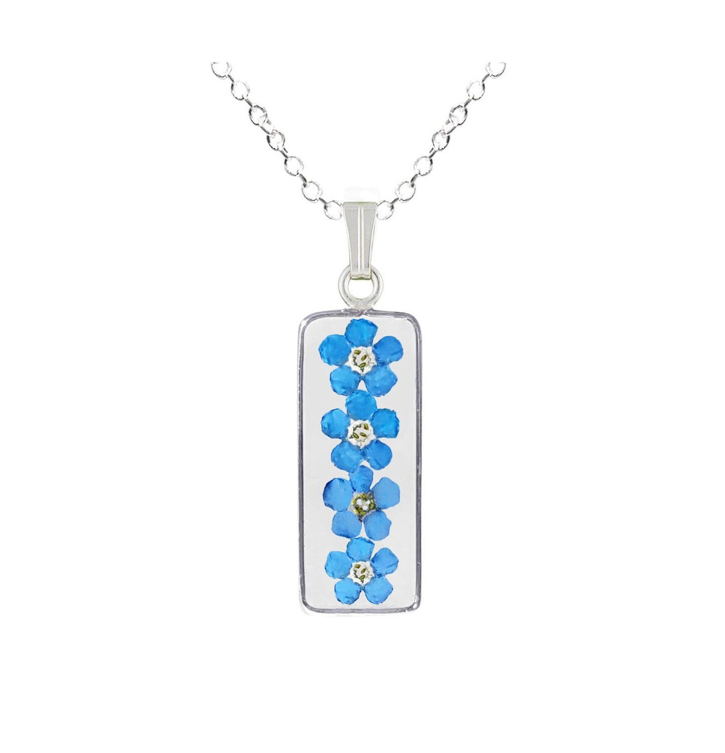 Forget-Me-Not Necklace, Medium Rectangle, Transparent