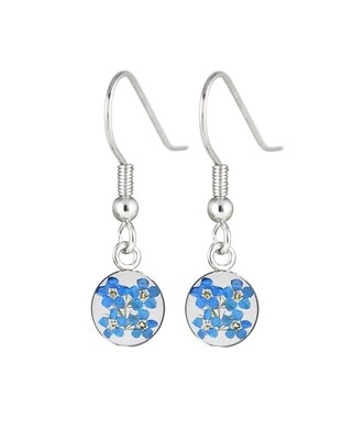 Forget-Me-Not, Small Circle Hanging Earrings, Transparent