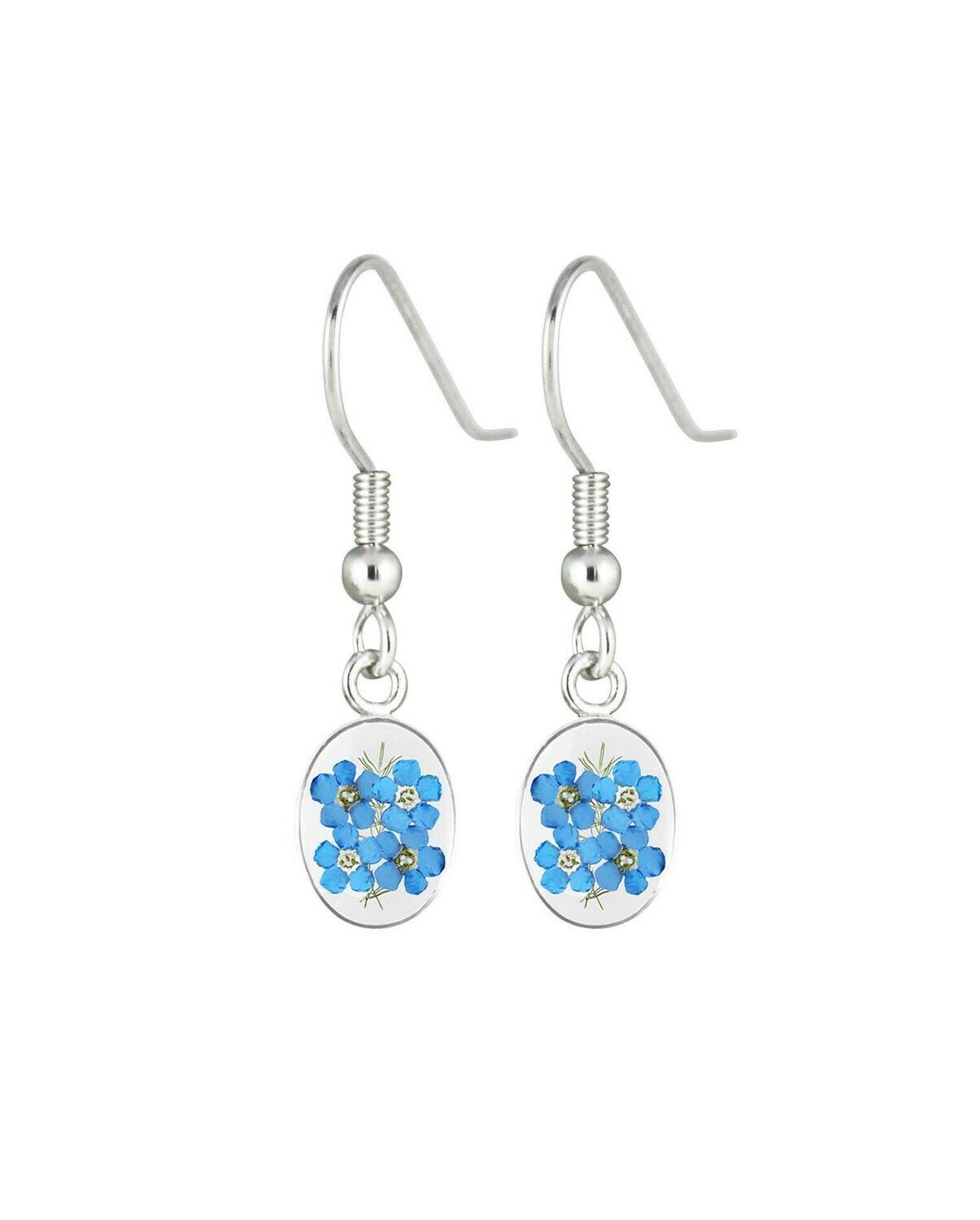 Forget-Me-Not, Small Oval Hanging Earrings, Transparent.