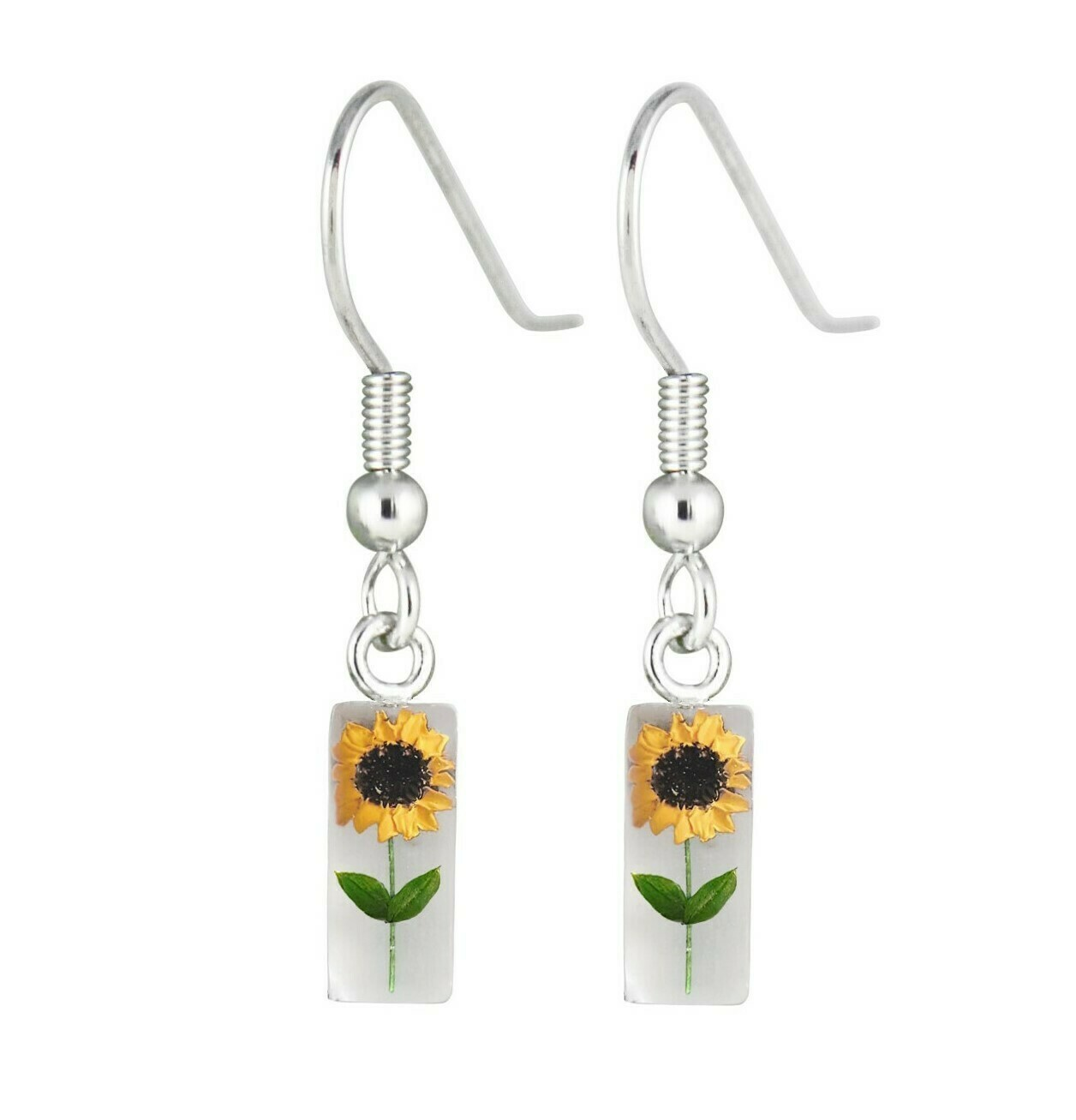 Sunflower, Rectangle Hanging Earrings, White Background.
