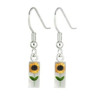 Sunflower, Rectangle Hanging Earrings, White Background.