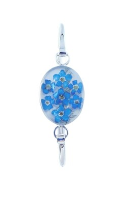 Forget-Me-Not, Oval Bracelet, White Background