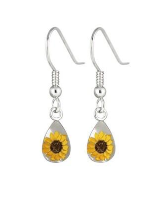 Sunflower, Teardrop Hanging Earrings, White Background.