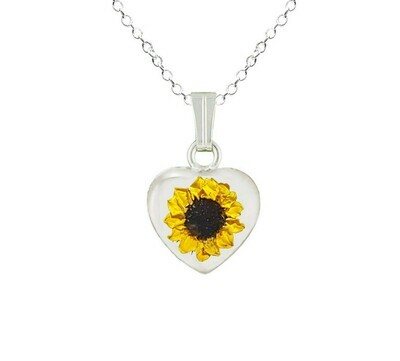 Sunflower Necklace, Small Heart, White Background