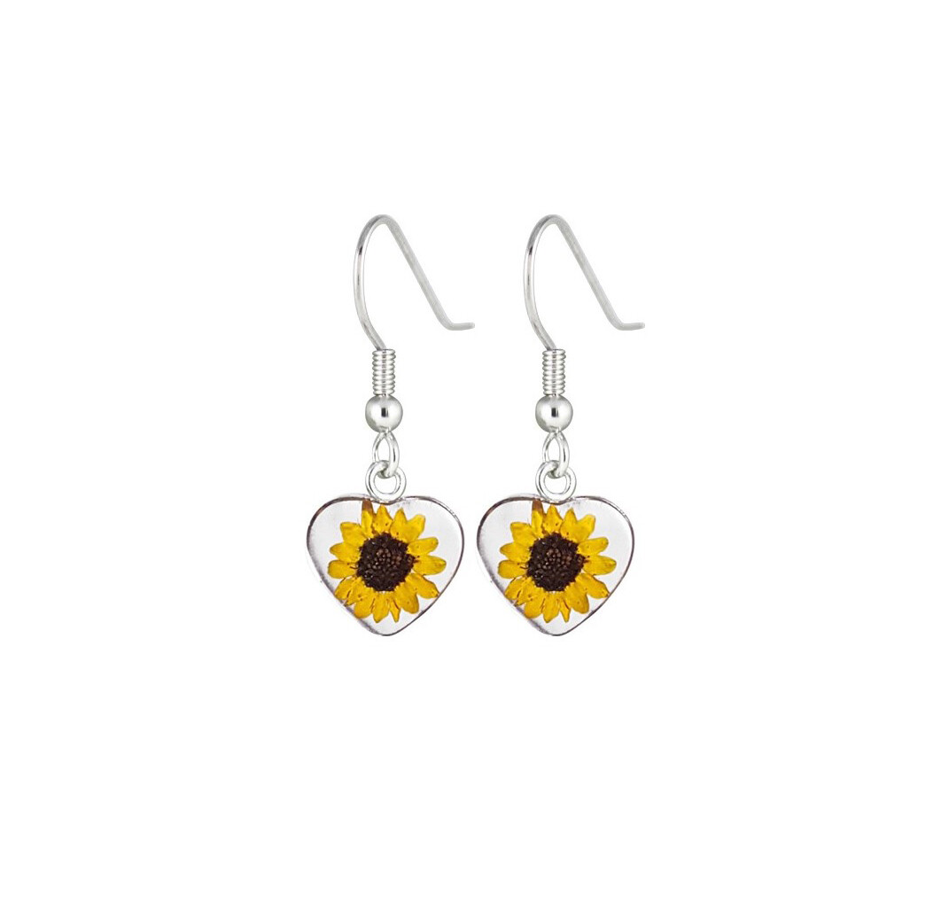 Sunflower, Heart Hanging Earrings , Transparent.