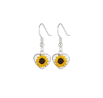 Sunflower, Heart Hanging Earrings , Transparent.