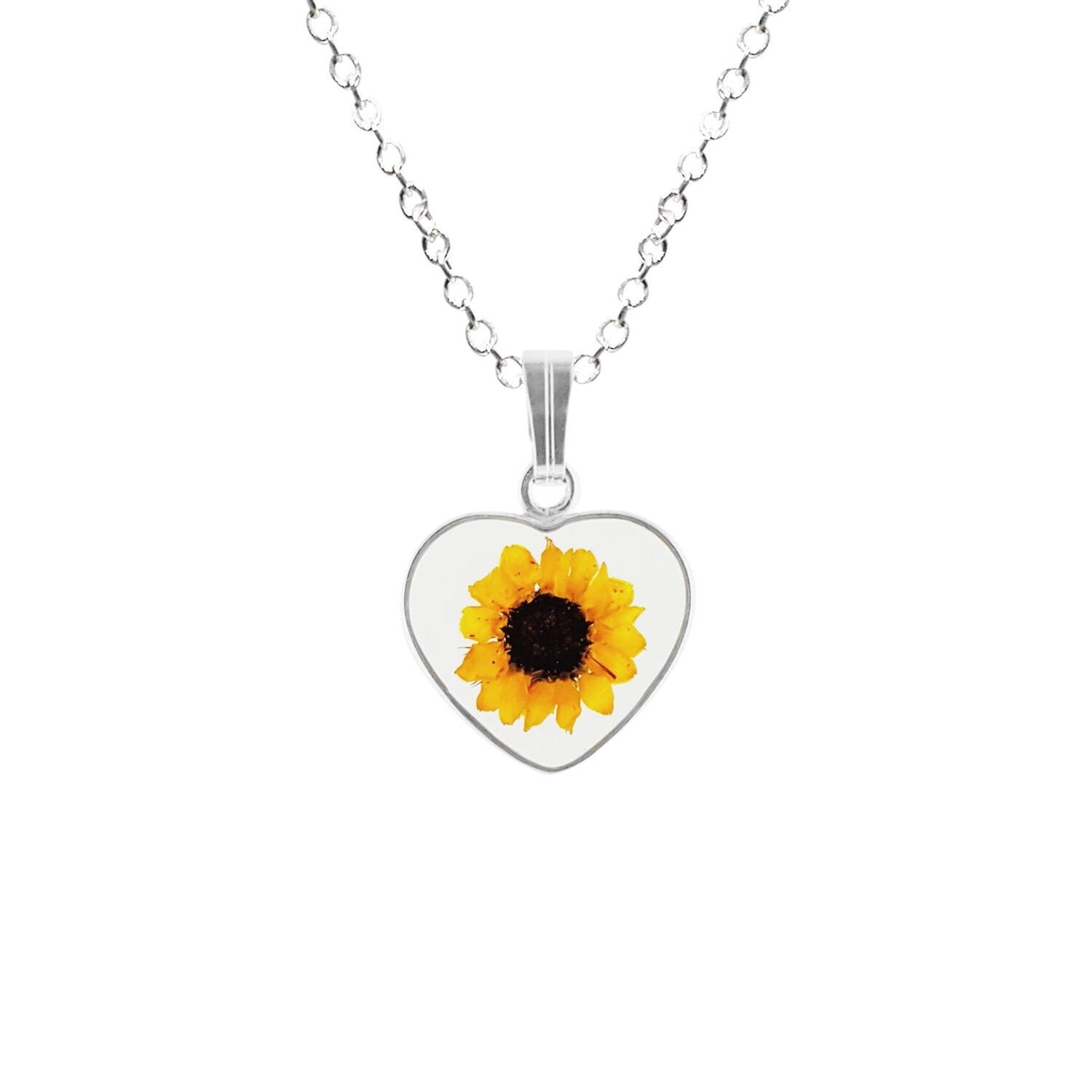 Sunflower Necklace, Small Heart, Transparent