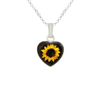 Sunflower Necklace, Small Heart, Black Background