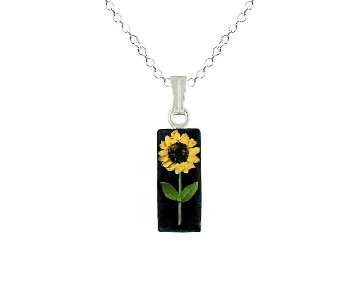 Sunflower Necklace, Small Rectangle, Black Background
