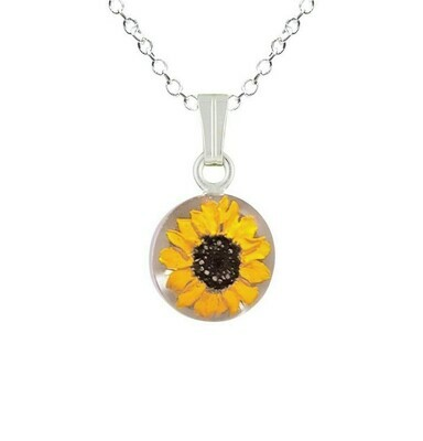 Sunflower Necklace, Small Circle, White Background