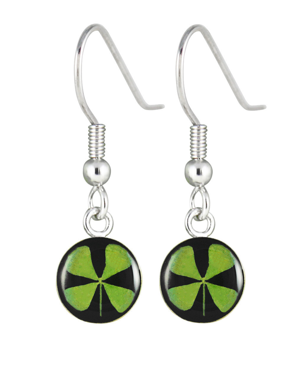Four-Leaf Clover, Circle Hanging Earrings, Black Background