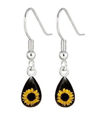 Sunflower, Teardrop Hanging Earrings, Black Background.