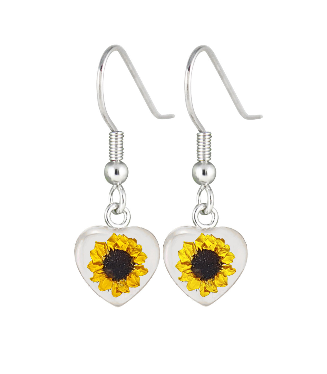 Sunflower, Heart Hanging Earrings, White Background.