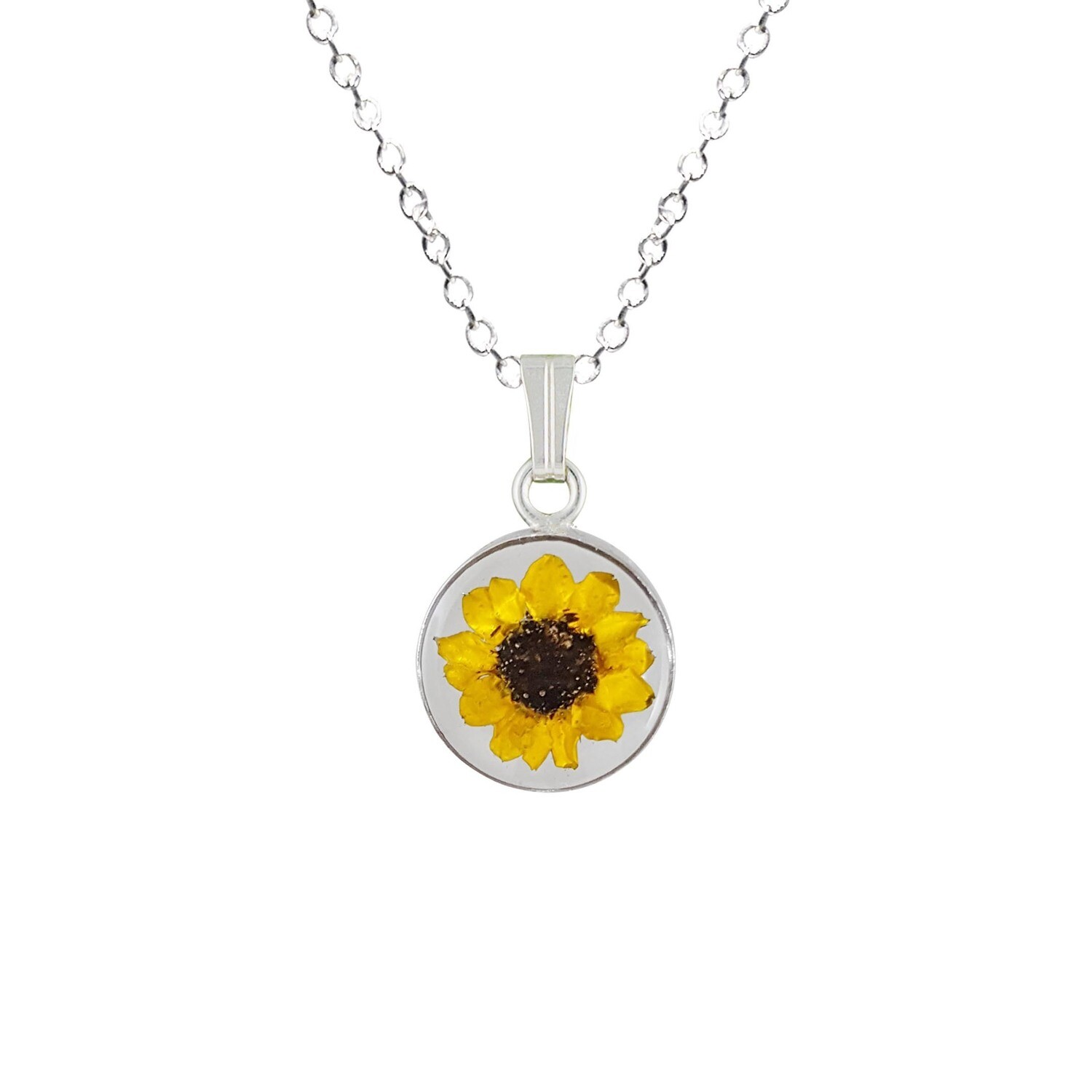 Sunflower Necklace, Small Circle, Transparent