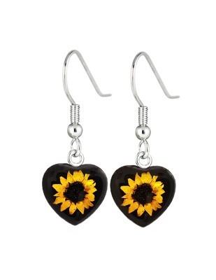 Sunflower, Heart Hanging Earrings, Black Background.