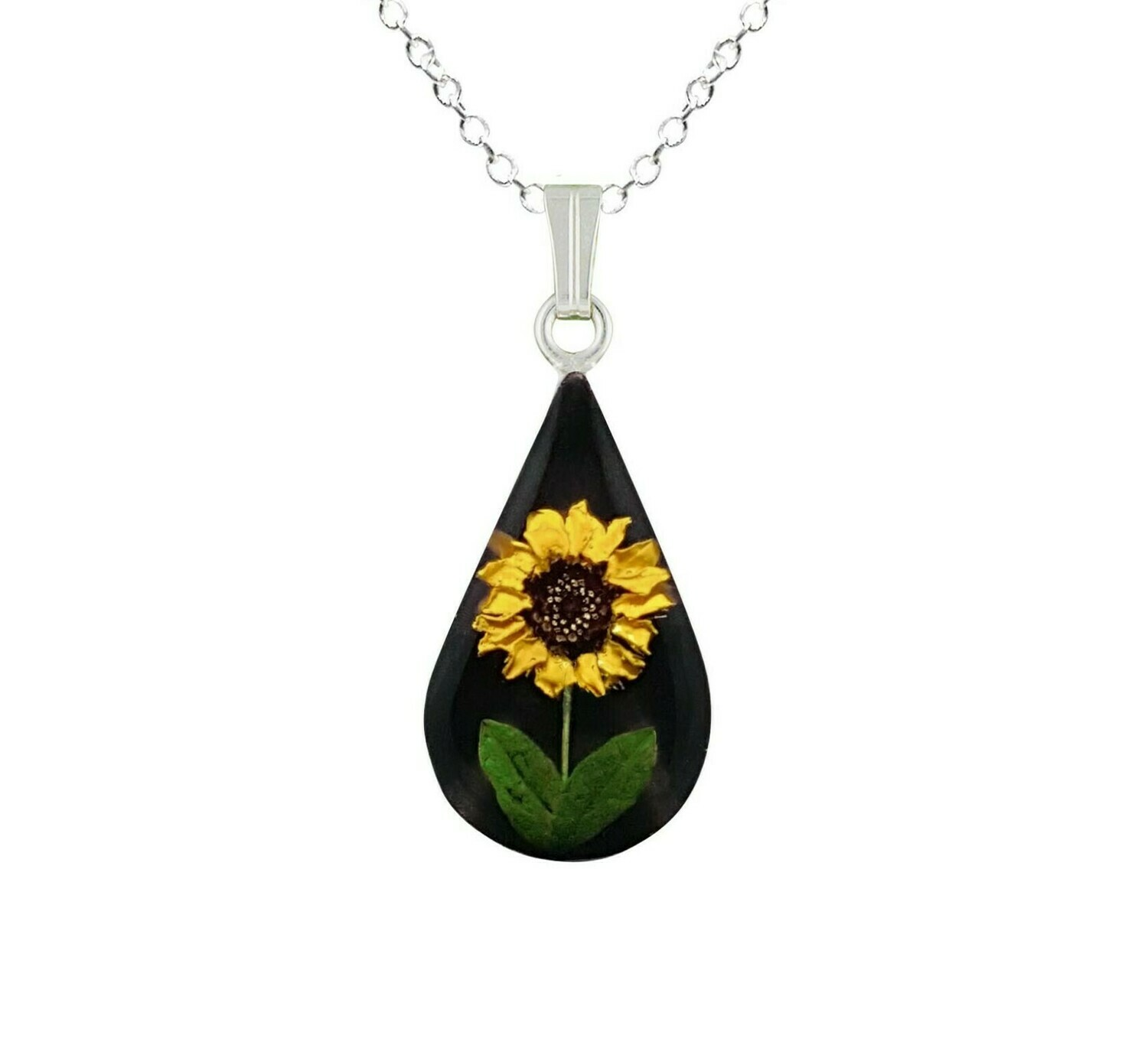 Sunflower Necklace, Teardrop, Black Background