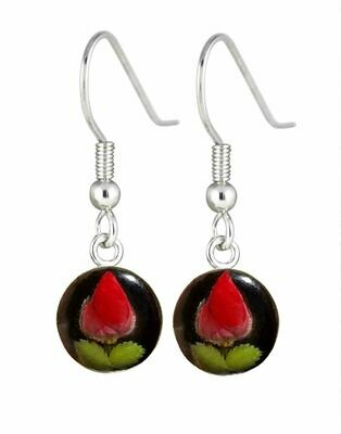 Rose, Small Circle Hanging Earrings, Black Background.
