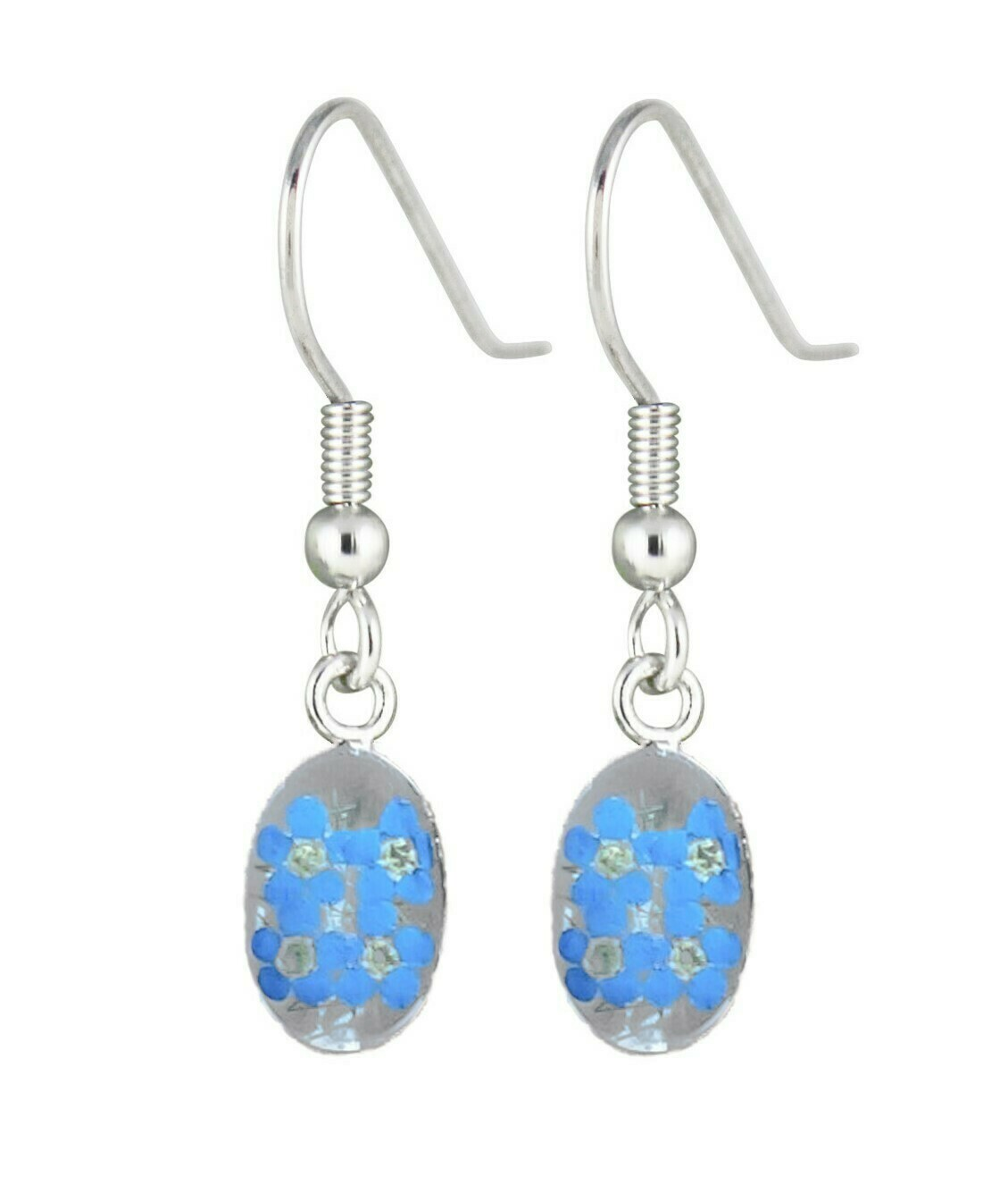 Real Forget-Me-Not, Oval Earrings, White Backgroud