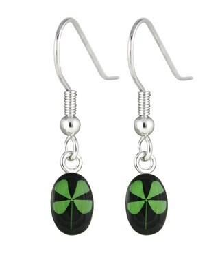 Four-Leaf Clover, Oval Hanging Earrings, Black Background