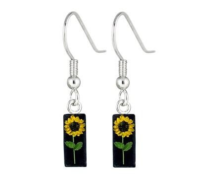 Sunflower, Rectangle Hanging Earrings, Black Background.