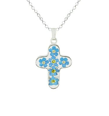 Forget-Me-Not Necklace, Medium Cross, Transparent