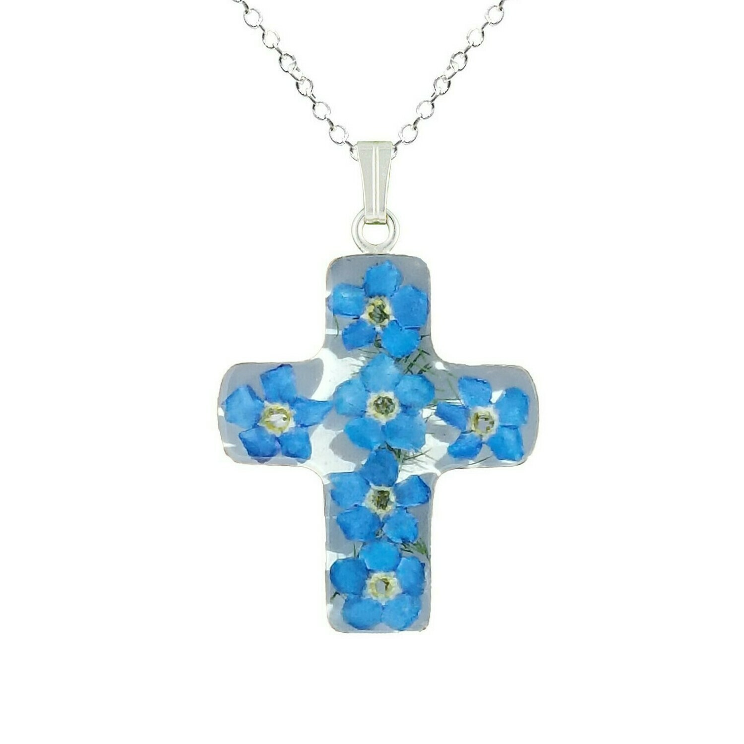 Forget-Me-Not Necklace, Medium Cross, White Background