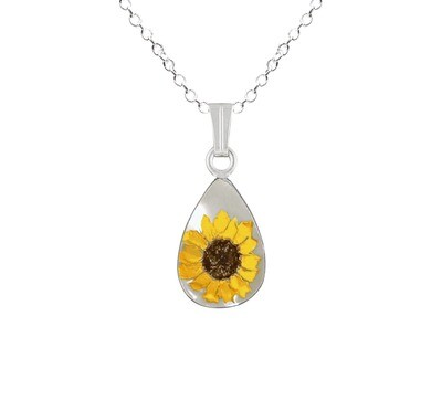 Sunflower Necklace, Small Teardrop, White Background