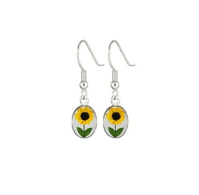 Sunflower, Small Oval Hanging Earrings, Transparent.