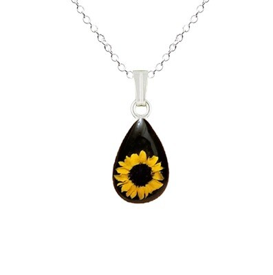 Sunflower Necklace, Small Teardrop, Black Background