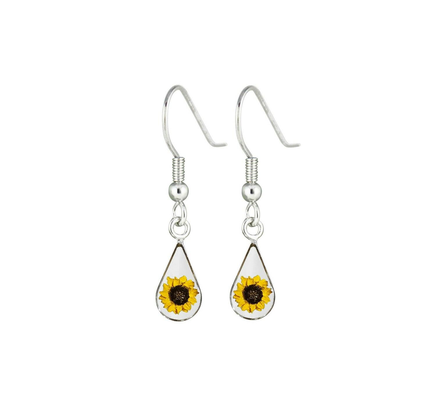 Sunflower, Teardrop Hanging Earrings, Transparent.