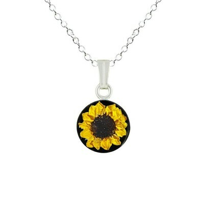 Sunflower Necklace, Small Circle, Black Background