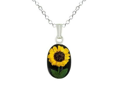 Sunflower Necklace, Small Oval, Black Background