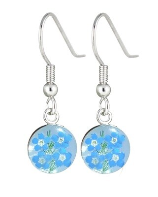 Forget-Me-Not, Circle Earrings, White Background